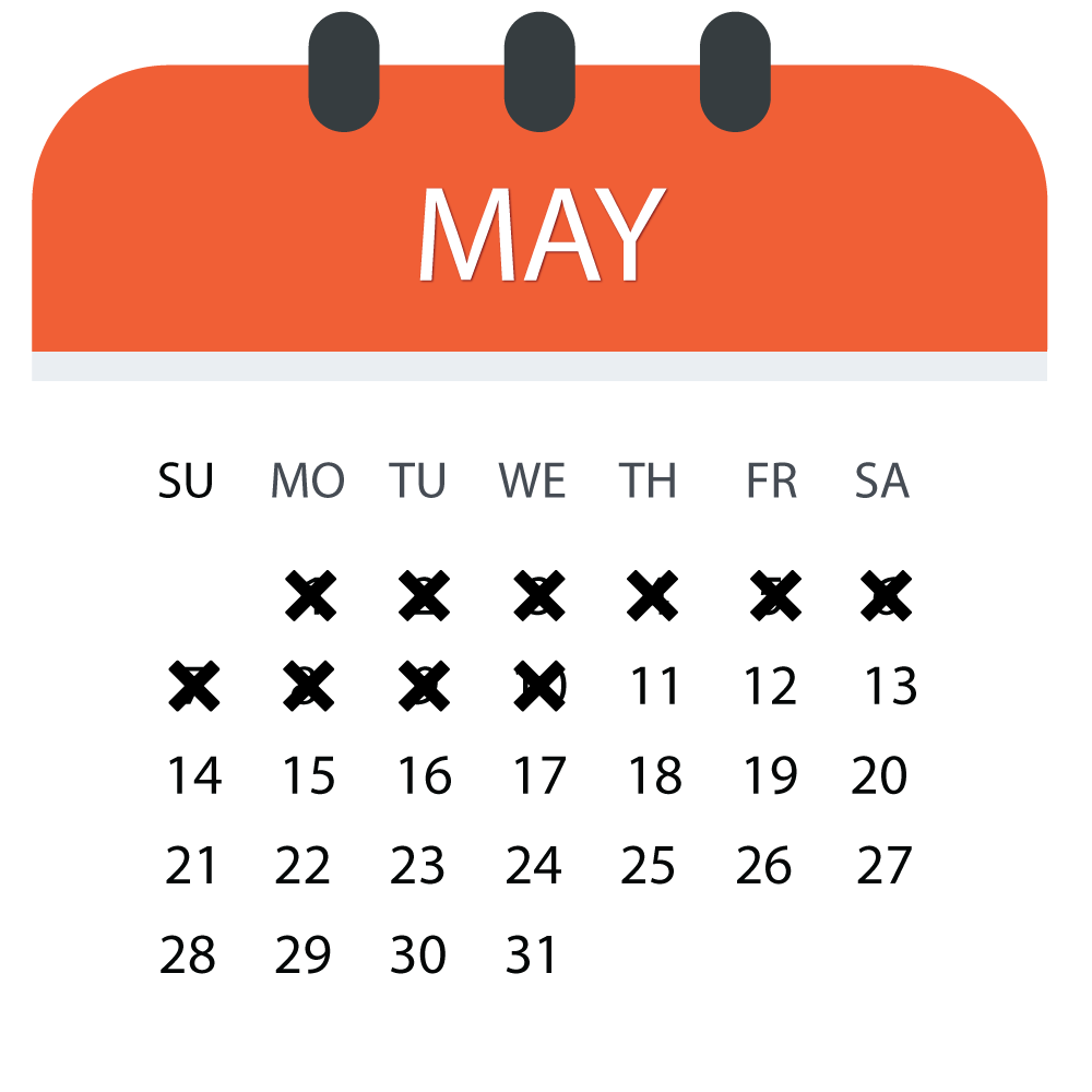 May Early Bird Registration Calendar