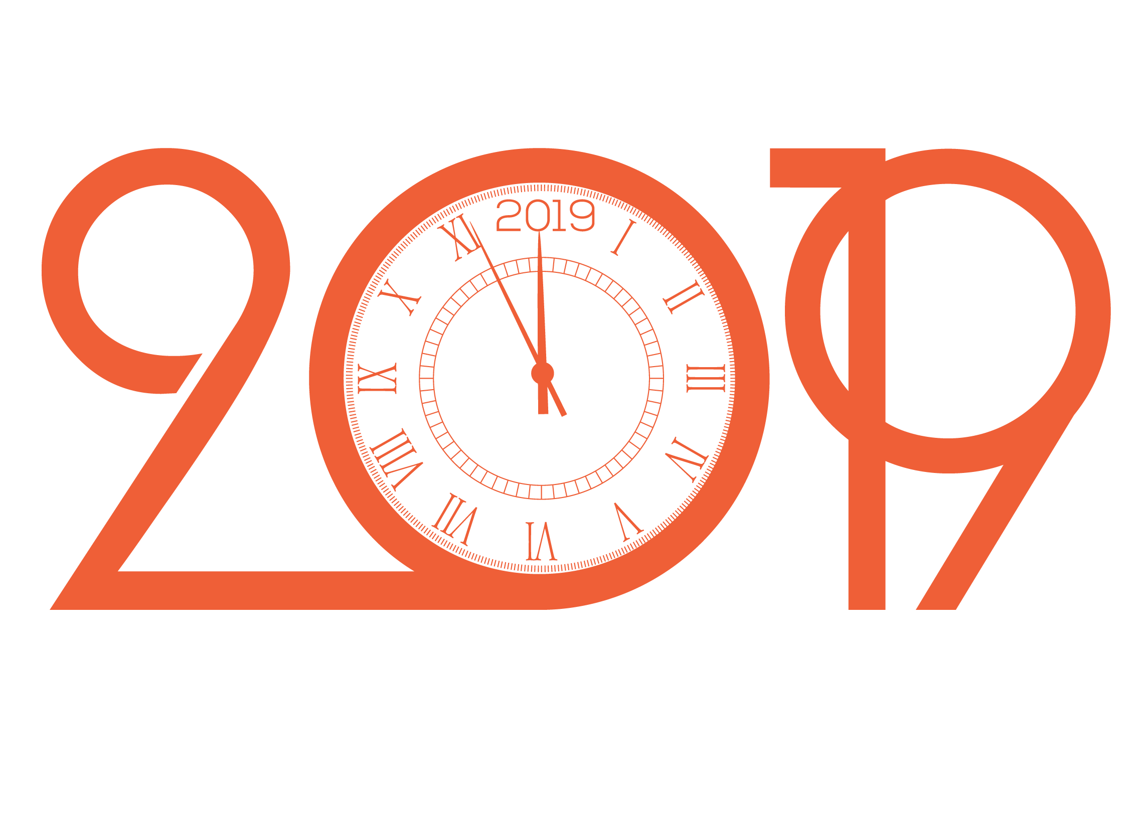 Illustration of a clock inside the year 2019
